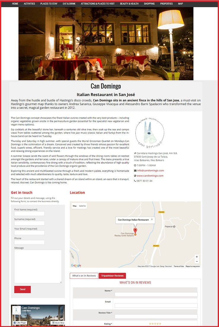 Sales Page Example when Advertise with us What's on in Southend on Sea.com